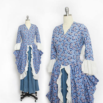 Vintage 1930s does Colonial - Blue Floral Cotton Ruffle Full Length Peasant Prairie Dress - Small