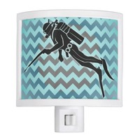 scooba diver on chevron blue and grey pattern