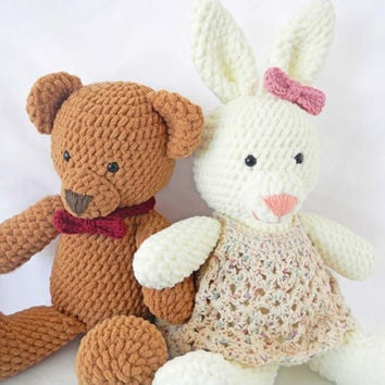 Crochet Pattern: Crochet Teddy Bear and Easter Bunny Rabbit - PDF Instant Download