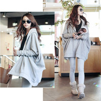New Fashion Women's Solid Color Bat Wing Long Sleeve Loose Casual Large Size Hooded Sweatshirt Hoodies Coat