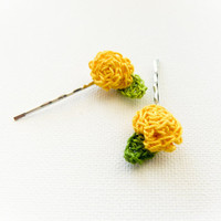 Summer yellow roses Crochet flowers hairpin Shabby by Mashacrochet