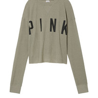 Cropped Long Sleeve Waffle - PINK - Victoria's Secret