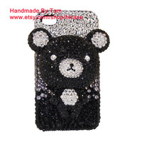 3D Bling black rhinestone bear Samsung galaxy s4 case Samsung galaxy note 2 case cute bear iphone 5 case iphone 4 case iphone 4s case