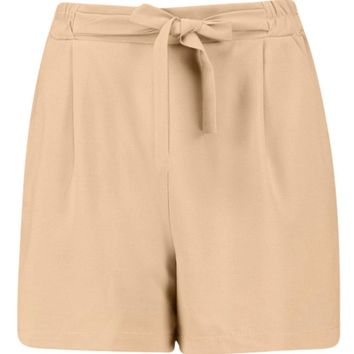 Amber Longer Length Tie Belt Pleated Shorts | Boohoo
