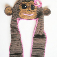 Little Brown Monkey All in One Crochet Hat Scarf and Mittens, sizes toddler to adults, MADE TO ORDER.
