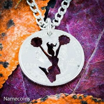 Cheer girl charm necklace, Cheerleading quarter jewelry, Hand Cut Coin by NameCoins