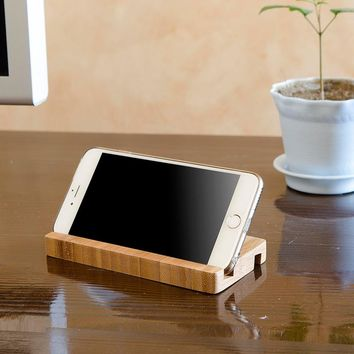 iFavor for iphone 4S 5 6 Plus Bamboo Wooden Holder Mobile Phones Base Pedestal Stents for Samsung HTC Phone Accessories Stand