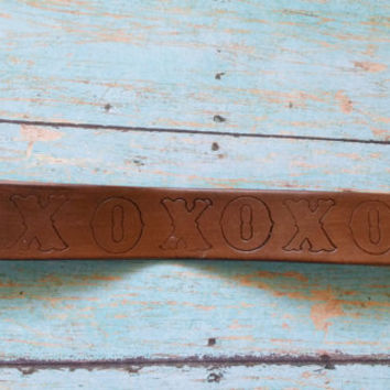 XO Leather Cuff / Hand Stamped Cuff / Genuine Leather Cuff / Western Jewelry / Cowgirl Chic Jewelry / Affordable Leather Cuff