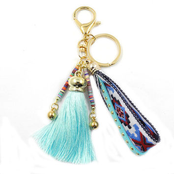 Colorful Long Ribbon Tassel Alloy Keychain