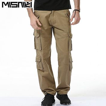 MISNIKI 2017 Top Fashion Casual Men Pants Cotton Slim Fit Multi-Pocket Cargo Pants Men