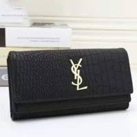 YSL Buckle Women Leather Purse Wallet Satchel Tote Handbag black
