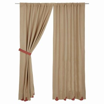 Burlap with Red Check Short Panel Curtains
