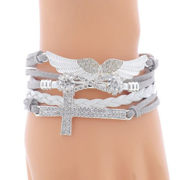 [Crazy 1PC New DIY Vogue Jewelry Leather Cross Angel's Wing Rhinestone Charm Bracelet = 5988112129