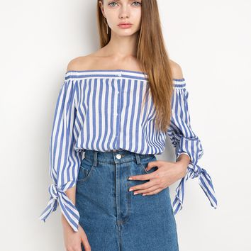 Sleeve Tie Stripe Off The Shoulder Top by New Revival