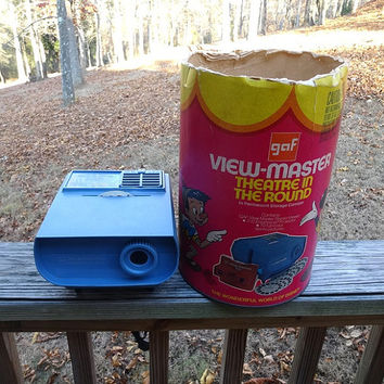 1970s Vintage GAF View-Master & Disney Theatre in the Round Electric Projector, Box, 3 Reels, New Lamp, Vintage Toys, Vintage View Master