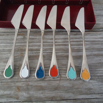 Hostess Set Cheese Butter Jam Vintage Spreaders, 6 Knives Boxed Set Enamel Handles, Pate Knives, Supreme Cutlery Stainless Japan