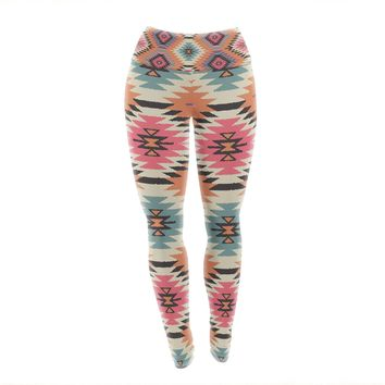 "Amanda Lane ""Southwestern Dreams"" Orange Pink Yoga Leggings"