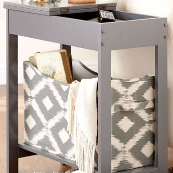 Gray Side Table Accent End Hallway Lamp Night Stand Slim Storage Hidden Drawer