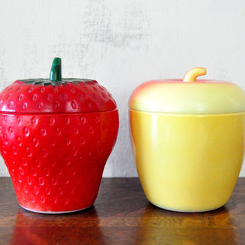 Vintage Hazel Atlas Milk Glass Apple and Strawberry Jelly Jars