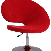 Chintaly Modern Swivel & Adjustable Fun Arm Chair Red Faux Velvet 2348-ACC