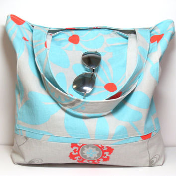 Large Summer Bag - Floral Flowers - Multiple Pockets -  Aqua Red Gray - Reversible Beach Tote