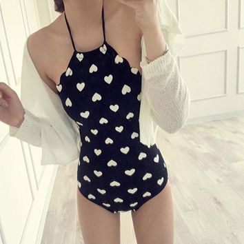 Summer Sexy Small Love Printed One Piece Swimsuit Women Halter Triangle Beach Swimwear Bathing Suit Backless Bandage Beachwear