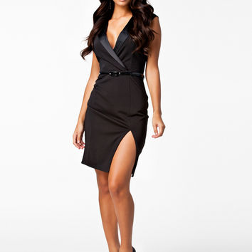 Black Deep V Sleeveless Side Slit Midi Dress