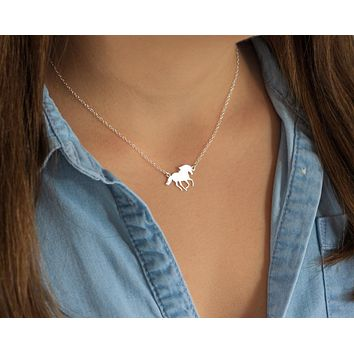 Handmade Sterling Silver Horse Necklace Pendant