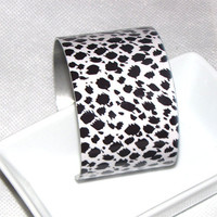 Dalmation animal print cuff bracelet thick and wide nice weight - adjustable