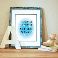 Twinkle Twinkle Little Star Printable Art Nursery Decor Baby Decor Kid's Room Instant Download Star Theme Nursery 8x10  11x14 Digital Print