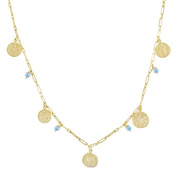 Pastel Pearl X Coin Necklace