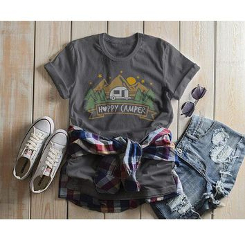 Women's Happy Camper T Shirt Mountains Shirt Forest Camping Graphic Tee