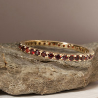 Gold Red Garnet Eternity Ring