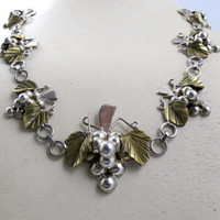Mexico Sterling Grape Necklace Mixed Metals Brass Sterling Grape Cluster Figural 80 Grams Vintage Signed CASP