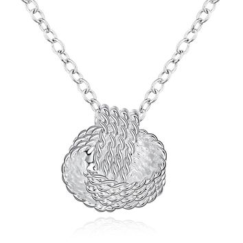 Fashion Elegant Ladies Necklace 925 Stamp Tennis Ball Pendant 18inch Long Necklace Chain Silver Plated Jewelry Loving Best Gift