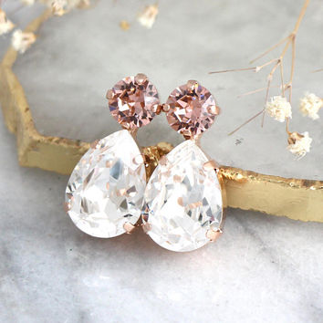 Blush Earrings, Bridal Morganite Earrings, Swarovski Blush Earrings, Bridal Blush Earrings, Bridesmaids Earrings, Blush Pink Earrings