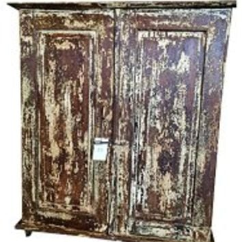 Antique Chest Brown Rustic Cabinet Indian Furniture Teak Patina | Mogul Interior