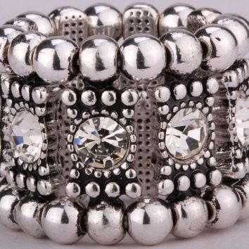 SHIPS FROM USA Stretch band ring for women girls W/ crystal cute fashion jewelry A1