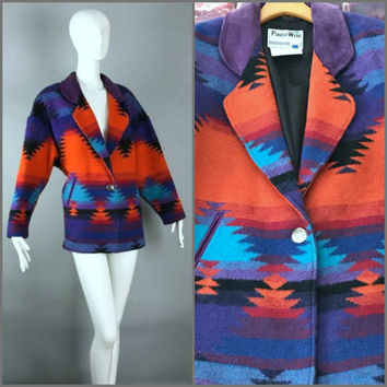 ViNtAgE Wool Suede Indian Blanket Jacket Ethnic Tribal Coat Southwest  Pioneer Wear Aztec Boho Hippie bohemian 90e1ee21c155