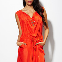 Carpe Diem Drawstring Dress in Ruby Orange