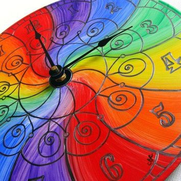Color Wheel Mandala Record Clock - Trippy Psychedelic Rainbow Home Decor - Hand Painted Geometric Design - LGBT Pride