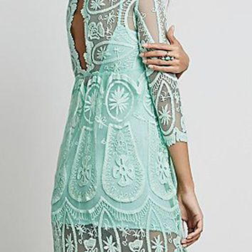 Streetstyle  Casual Light Green Floral Lace Hollow-out See-through 3/4 Sleeve A-line Cute Mini Dress