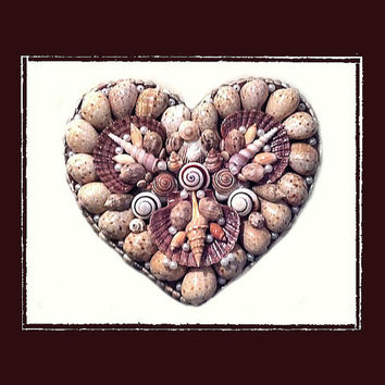SeaShell Heart Wall Plague, Beach Theme, Coastal Theme, Nautical Theme, Wedding/Anniversary Gift, Wall Decor, Decorated Clock