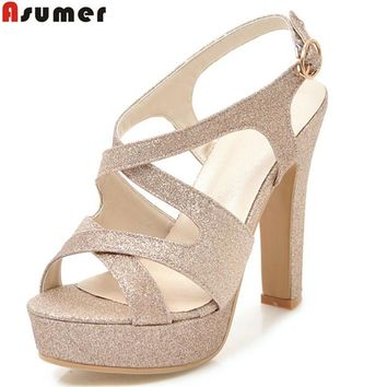 Womens pink gold fashion ladies shoes buckle elegant platform thick heel high heels