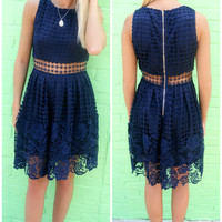 La Jolla Crochet Sheer Waist Sleeveless A-Line Navy Dress
