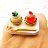 Kawaii Food Ring Strawberry Blueberry Cake by SouZouCreations