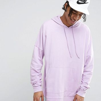 ASOS Extreme Oversized Longline Hoodie In Purple at asos.com