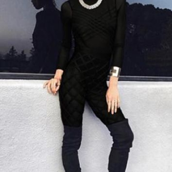 Front And Center Black Sheer Mesh Long Sleeve Crew Neck Bandage Crisscross Bodycon Jumpsuit