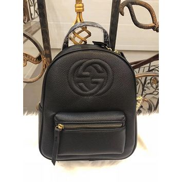 GUCCI Women Fashion Casual School Bag Cowhide Leather Backpack