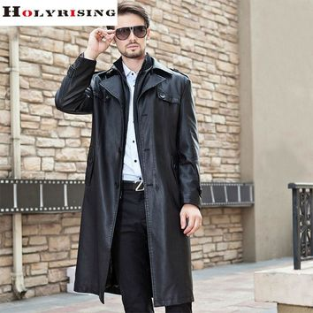 Men Long Black Classic Turn Collar Winter Pea Coats Casual Overcoat Single breasted Pu Jackets